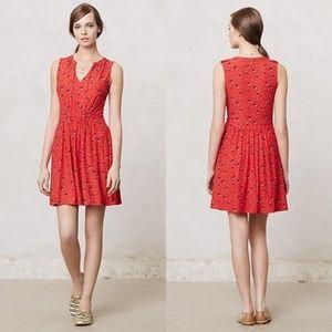 { Anthropologie } Red Pleated Skipper Dress